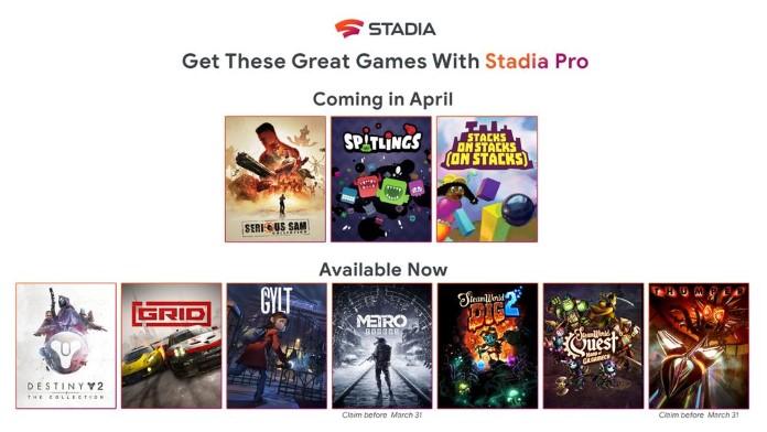 Stadia-Pro-Spiele im April