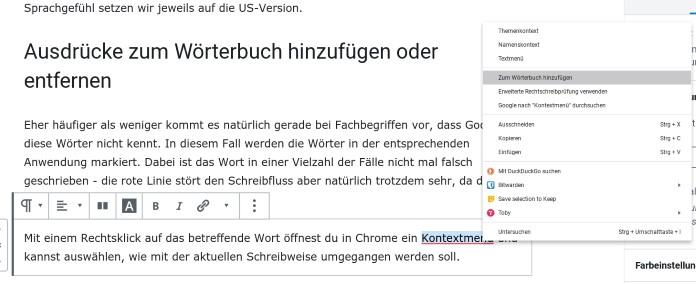 Chrome Wörter zur Rechtschreibung hinzufügen