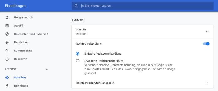 Chrome Sprache einstellen