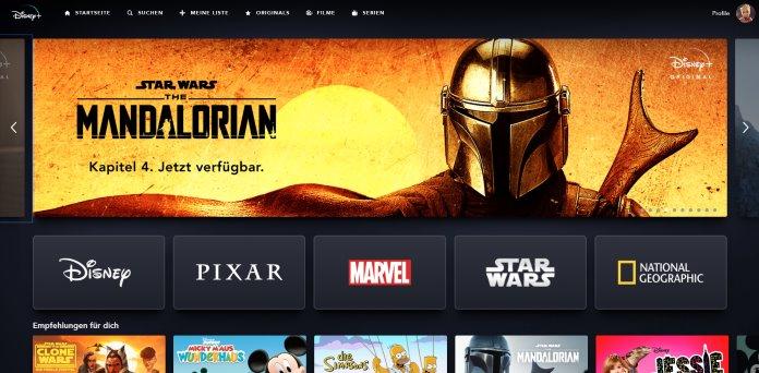 Disney Plus - Star Wars The Mandalorian Startseite