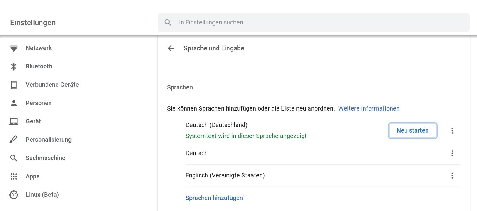 Sprachen beim Chromebook hinzufügen