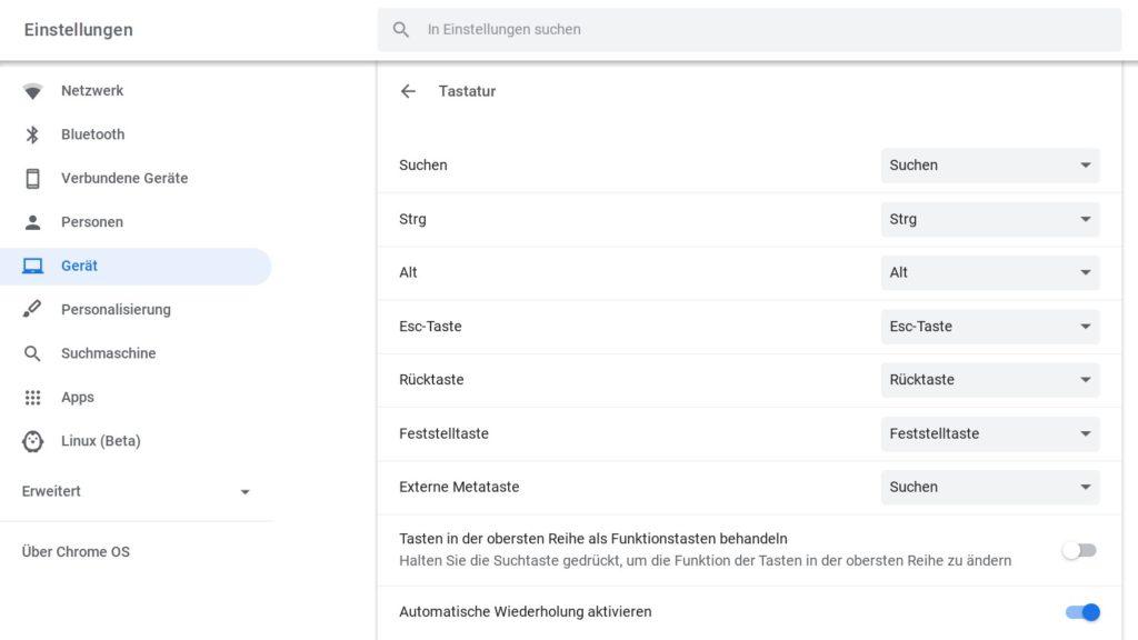 Chromebook-Tastatur anpassen
