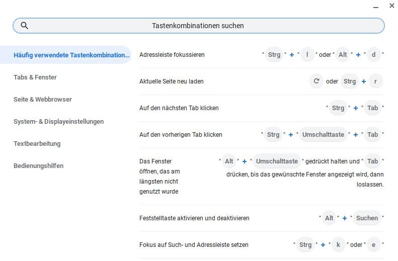 Übersicht der Tastenkombinationen bei Chromebooks