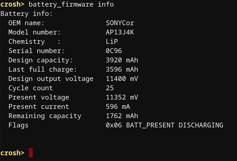 Chromebook Akku Zustand und Ladezyklen