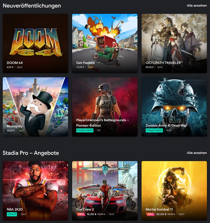 Google Stadia Store - Spiele auch auf Chromebooks nutzbar