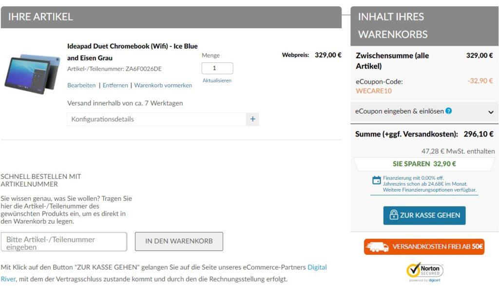 Gutschein für Lenovo IdeaPad Duet Chromebook