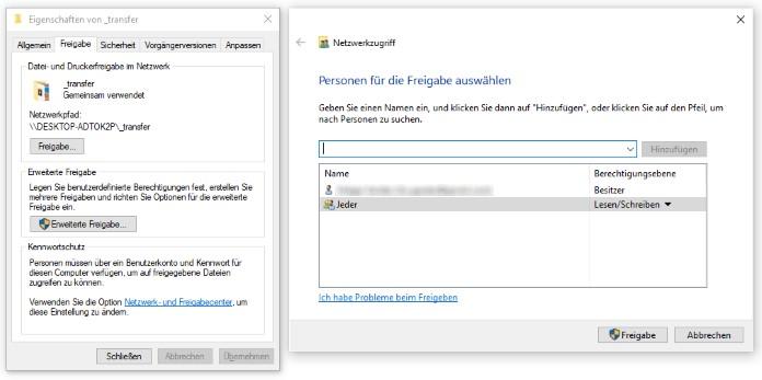 Ordnerfreigabe in Windows
