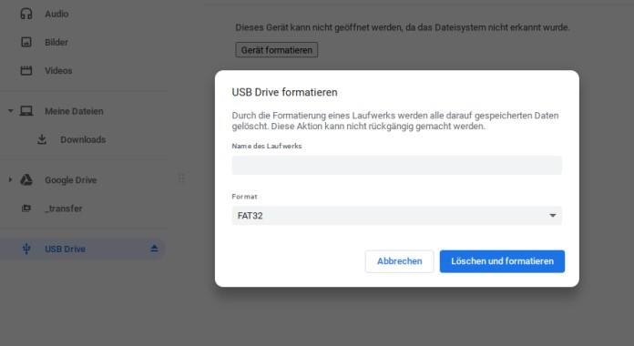 Chromebook SSD formatieren