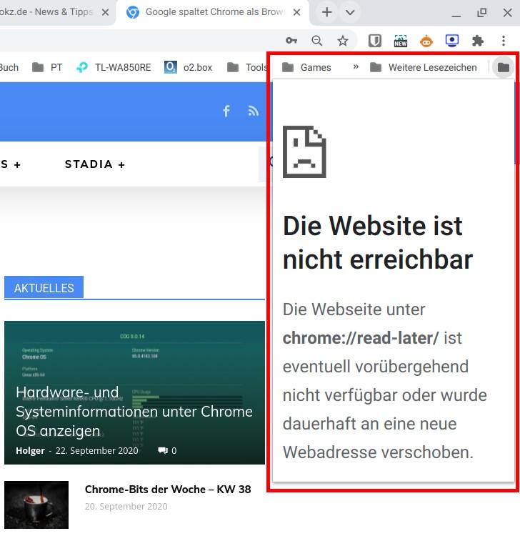Chrome mit neuer Funktion Später lesen (read later)