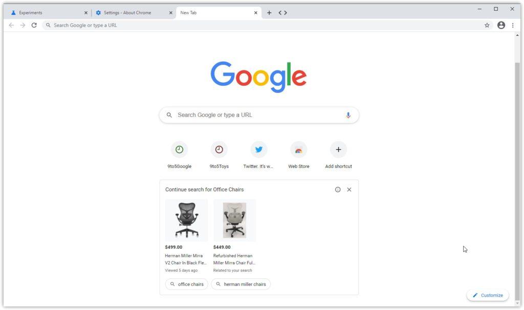 Anzeigen von Google auf der neuen Tab-Seite