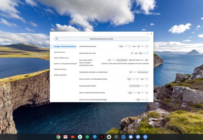Tastenkombinationen auf dem Chromebook anzeigen lassen