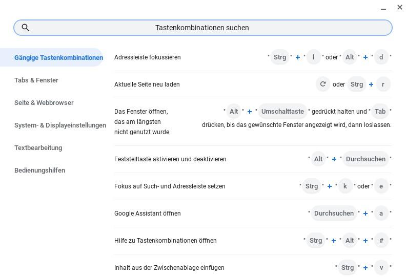 Tastenkombinationen Chromebook durchsuchen